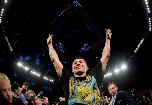 INGLEWOOD, CA - APRIL 23:  Gennady Golovkin of Kazakhstan celebrates a second round TKO of Dominic Wade during his unified middleweight title fight at The Forum on April 23, 2016 in Inglewood, California.  (Photo by Harry How/Getty Images)
