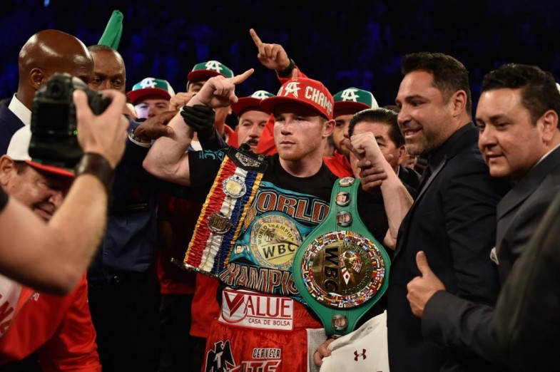 LAS VEGAS, NEVADA - MAY 07:  Canelo Alvarez poses with the WBC Middleweight belt during the WBC middleweight title fight at T-Mobile Arena on May 7, 2016 in Las Vegas, Nevada.  (Photo by David Becker/Getty Images)