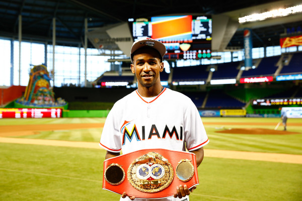 Rances Barthelemy throws out first pitch at Marlins Game - June 2_ 2016_Behind the scenes_Stephanie Trapp _ Mayweather Promotions2
