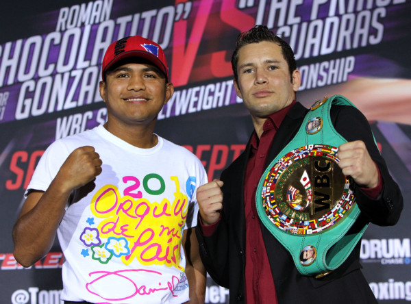 "July 25, 2016 , Los Angeles, Ca. ---   Consensus #1 Pound-for-Pound Fighter in the World and WBC Flyweight World Champion Roman ""Chocolatito Gonzalez"", (L) (45-0-0, 38 KOs) will move up one weight class and challenge undefeated WBC Super Flyweight World Champion Carlos ""Principe"" Cuadras, (R)(35-0-1, 27 KO's) on Saturday, September 10 from the Fabulous Forum in Los Angeles.    Following their epic 2016 ""Fight of the Year"" candidate this past April 15 at the Belasco Theater in Los Angeles, Yoshihiro Kamegai, (26-3-2, 23KO's) and Jesus ""Renuente"" Soto-Karass, (28-10-4, 18KO's), will battle once again on Saturday September 10 from the Fabulous Forum in Los Angeles. The ten round super welterweight clash will serve as the chief support to the main event. Both fights will be televised live on HBO World Championship Boxing beginning at 10:00 p.m. ET/PT.    Tickets for this outstanding evening of professional boxing priced at $300, $200, $100, $50 and $25 are now on sale through Ticketmaster (Ticketmaster.com, 1-800-745-3000) and the Forum Box Office.    Gonzalez vs. Cuadras is presented by K2 Promotions in association with Teiken Promotions.  Kamegai vs. Soto-Karass 2 is presented by Golden Boy Promotions and Teiken Promotions.    SOCIAL MEDIA: For more information, visit www.K2Promos.com, www.GoldenBoyPromotions.com  www.FabulousForum.com and www.HBO.com/boxing.    Follow on Twitter for Roman Gonzalez @ChocolatitoBox, Carlos Cuadras @CuadrasOficial,  @ Tom Loeffler/K2 Promotions @TomLoeffler1, Golden Boy Promotions @GoldenBoyBoxing,  the Forum @theForum and HBO Boxing @HBOBoxing and become a fan on Facebook www.facebook.com/ChocolatitoOfficial, www.facebook/CarlosCuadras,   www. facebook.com/GoldenBoyBoxing,  www.facebook.com/TheForum and www.facebook.com/HBOBoxing.   Use the hashtags #GonzalezCuadras and #KamegaiSotoKarass2 #KSK2  to join the conversation on social media.  ---   Photo Credit : Chris Farina -  K2 Promotions"