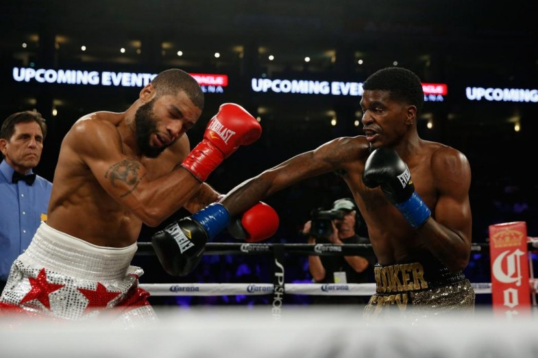 OAKLAND, CA - AUGUST 06: Maurice Hooker (right) fights Tyrone Barnett in their NABO Junior Welterweight Title bout at ORACLE Arena on August 6, 2016 in Oakland, California. (Photo by Lachlan Cunningham/Getty Images)