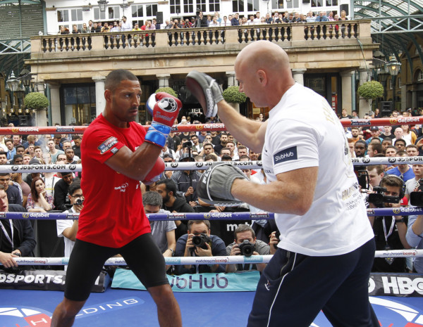 WORLD MIDDLEWEIGHT CHAMPIONSHIP OPEN TRAINING COVENT GARDEN,LONDON PIC;LAWRENCE LUSTIG WORLD TITLE CHALLENGER KELL BROOK WORKS OUT UNDER THE GUIDANCE OF TRANER DOMINIC INGLE