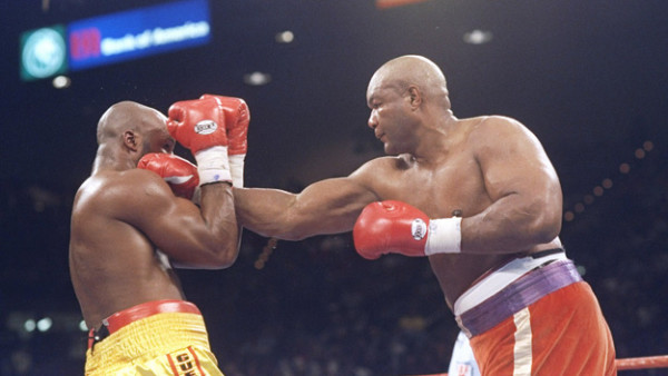 5 Nov 1994: George Foreman lands a straight right on Michael Moorer during a bout in Las Vegas, Nevada. Foreman won the fight with a knockout in the tenth round. Mandatory Credit: Holly Stein /Allsport