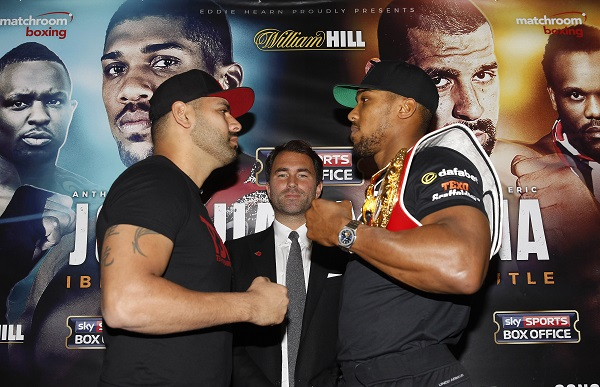 JOSHUA V MOLINA PRESS CONFERENCE DORCHESTER HOTEL,LONDON PIC LAWRENCE LUSTIG IBF WORLD CHAMPION ANTHONY JOSHUA COMES FACE TO FACE WITH CHALLENGER  ERIC MOLINA AS THEY COME FACE TO FACE TO ANNOUNCE THEIR FIGHT ON EDDIE HEARNS PROMOTION AT MANCHESTER ARENA ON DECEMBER 10TH