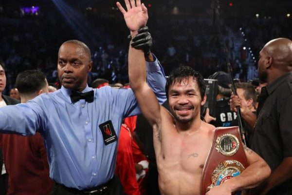 LAS VEGAS, NV - NOVEMBER 05:   Manny Pacquiao of the Philippines poses after his unanimous-decision victory over Jessie Vargas at the Thomas & Mack Center on November 5, 2016 in Las Vegas, Nevada. Pacquiao won the WBO welterweight championship.  (Photo by Christian Petersen/Getty Images)