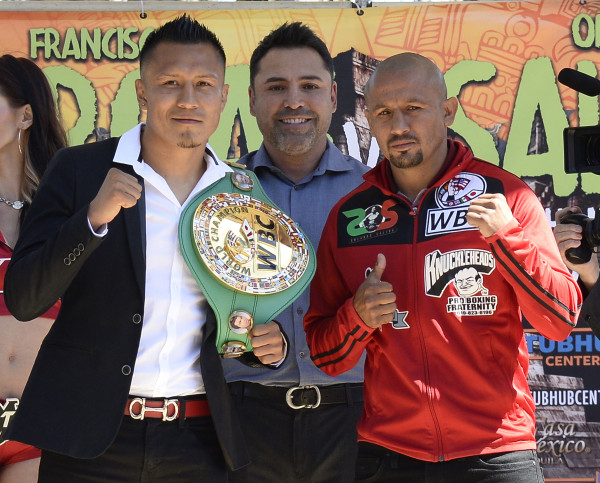 March 31,2016. Los Angeles CA.  Vargas and Salido talk to the press.Photo by Gene Blevins/Hogan Photos