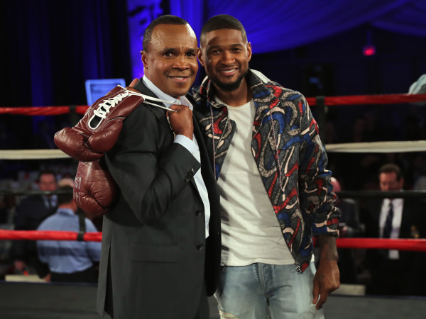 """""""HOLLYWOOD, CA - MAY 25: Sugar Ray Leonard and Usher attend B. Riley & Co. and Sugar Ray Leonard Foundation's 7th Annual """"Big Fighters, Big Cause"""" Charity Boxing Night at Dolby Theatre on May 25, 2016 in Hollywood, California. (Photo by Mark Davis/Getty Images for Sugar Ray Leonard Foundation )"""""""