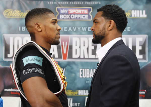 JOSHUA-BREAZEALE FINAL PRESS CONFERENCE SKY STUDIOS,ISLEWORTH,LONDON PIC;LAWRENCE LUSTIG IBF WORLD HEAVYWEIGHT CHAMPION ANTHONY JOSHUA COMES FACE TO FACE WITH CHALLENGER DOMINIC BREAZEALE BEFORE THEY CLASH AT LONDONS 02 ON SATURDAY(25TH JUNE)