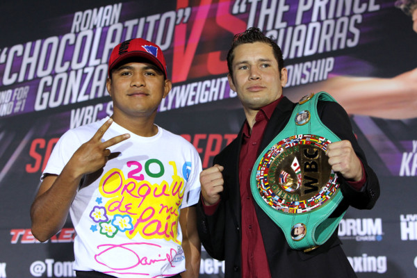 """July 25, 2016 , Los Angeles, Ca. --- Consensus #1 Pound-for-Pound Fighter in the World and WBC Flyweight World Champion Roman """"Chocolatito Gonzalez"""", (L) (45-0-0, 38 KOs) will move up one weight class and challenge undefeated WBC Super Flyweight World Champion Carlos """"Principe"""" Cuadras, (R)(35-0-1, 27 KO's) on Saturday, September 10 from the Fabulous Forum in Los Angeles. Following their epic 2016 """"Fight of the Year"""" candidate this past April 15 at the Belasco Theater in Los Angeles, Yoshihiro Kamegai, (26-3-2, 23KO's) and Jesus """"Renuente"""" Soto-Karass, (28-10-4, 18KO's), will battle once again on Saturday September 10 from the Fabulous Forum in Los Angeles. The ten round super welterweight clash will serve as the chief support to the main event. Both fights will be televised live on HBO World Championship Boxing beginning at 10:00 p.m. ET/PT. Tickets for this outstanding evening of professional boxing priced at $300, $200, $100, $50 and $25 are now on sale through Ticketmaster (Ticketmaster.com, 1-800-745-3000) and the Forum Box Office. Gonzalez vs. Cuadras is presented by K2 Promotions in association with Teiken Promotions. Kamegai vs. Soto-Karass 2 is presented by Golden Boy Promotions and Teiken Promotions. SOCIAL MEDIA: For more information, visit www.K2Promos.com, www.GoldenBoyPromotions.com www.FabulousForum.com and www.HBO.com/boxing. Follow on Twitter for Roman Gonzalez @ChocolatitoBox, Carlos Cuadras @CuadrasOficial, @ Tom Loeffler/K2 Promotions @TomLoeffler1, Golden Boy Promotions @GoldenBoyBoxing, the Forum @theForum and HBO Boxing @HBOBoxing and become a fan on Facebook www.facebook.com/ChocolatitoOfficial, www.facebook/CarlosCuadras, www. facebook.com/GoldenBoyBoxing, www.facebook.com/TheForum and www.facebook.com/HBOBoxing. Use the hashtags #GonzalezCuadras and #KamegaiSotoKarass2 #KSK2 to join the conversation on social media. --- Photo Credit : Chris Farina - K2 Promotions"""