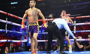 Vasiliy Lomachenko scored an emphatic fourth-round knockout of Anthony Crolla on April 12.